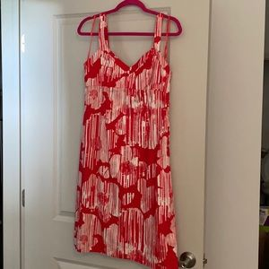 New York & Co red white cotton dress size 10